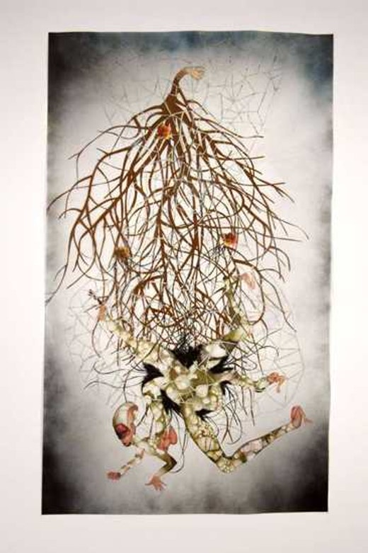 This is an artwork titled Be quiet I saved you already by artist Wangechi Mutu made in 2005