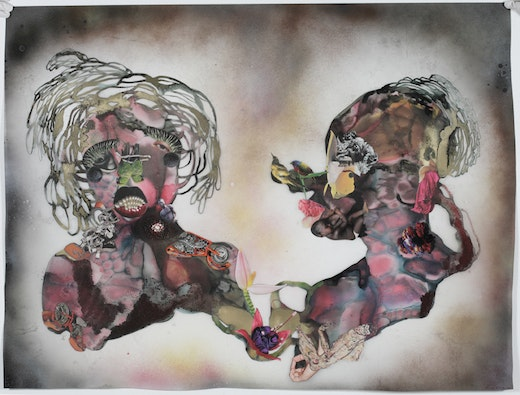 This is an artwork titled Pearl Teeth by artist Wangechi Mutu made in 2008