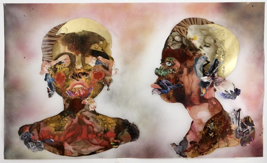 This is an artwork titled Blue Eyes by artist Wangechi Mutu made in 2008