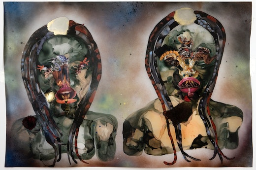 This is an artwork titled Bird Flew by artist Wangechi Mutu made in 2008
