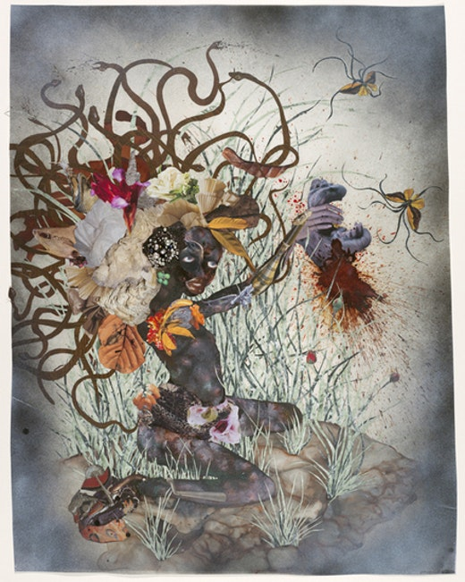 This is an artwork titled The bride who married a camel's head by artist Wangechi Mutu made in 2009