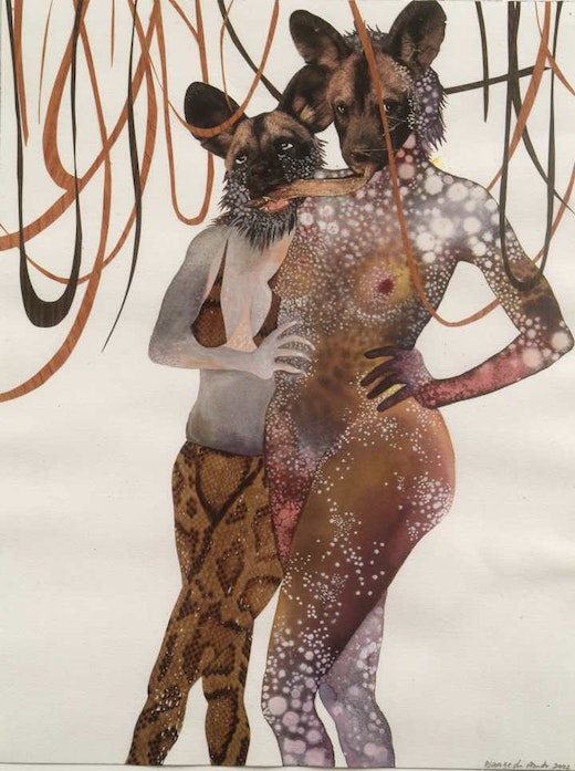 This is an artwork titled Intertwined by artist Wangechi Mutu made in 2003