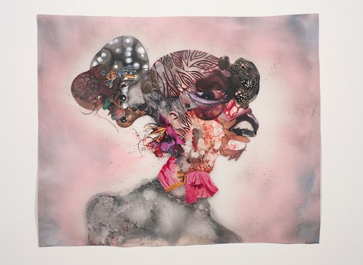This is an artwork titled Pretty Double-Headed by artist Wangechi Mutu made in 2010
