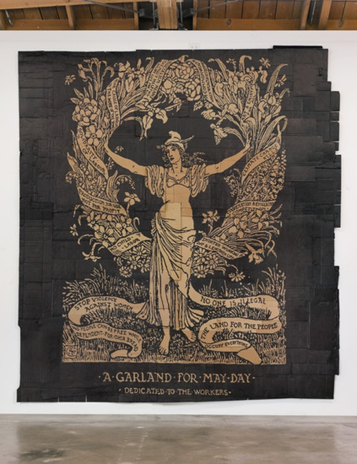 This is an artwork titled A Garland for May Day (Illustration by Walter Crane) by artist Andrea Bowers made in 2012