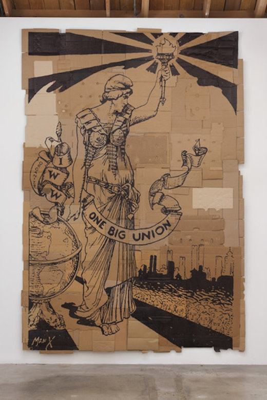 This is an artwork titled One Big Union by artist Andrea Bowers made in 2012
