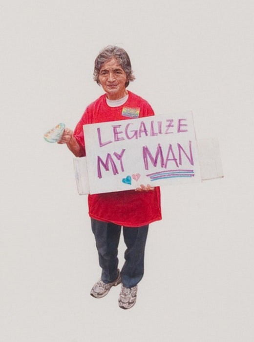 This is an artwork titled Legalize my Man (May Day March, Los Angeles, 2012) by artist Andrea Bowers made in 2012