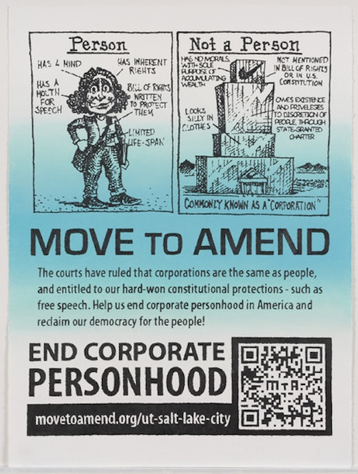 This is an artwork titled Move to Amend Flyer Enlarged and Labored Over by artist Andrea Bowers made in 2012