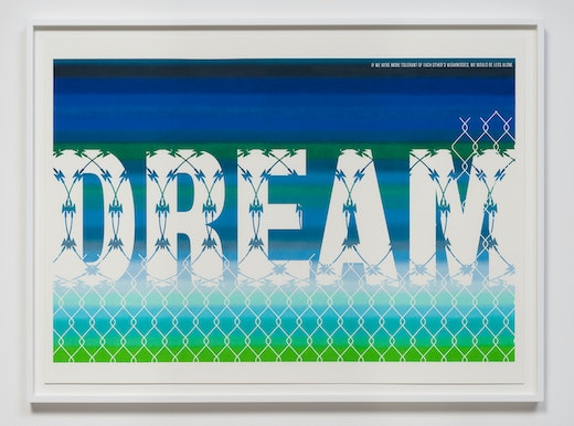This is an artwork titled Pass The Dream Act (Barbed Wire) by artist Andrea Bowers made in 2012