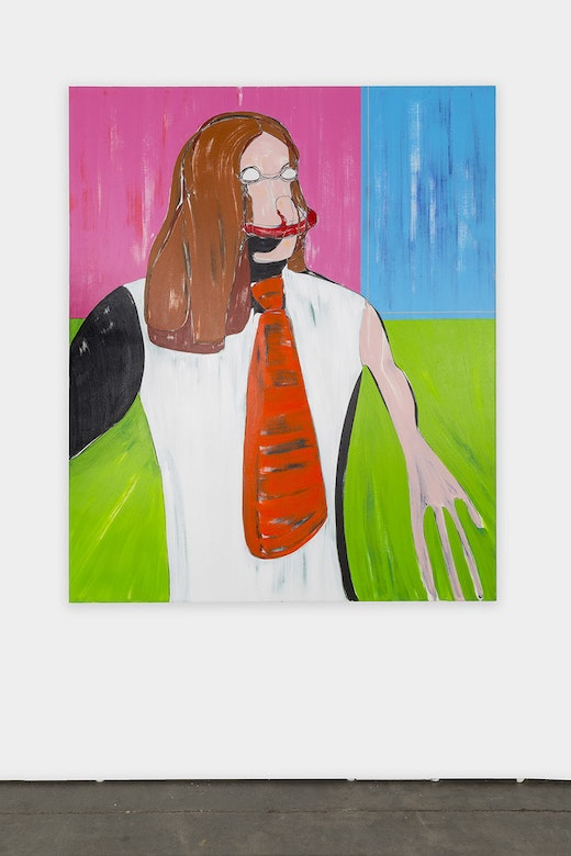 This is an artwork titled Self-Portrait: Red Tie by artist Nicola Tyson made in 2016