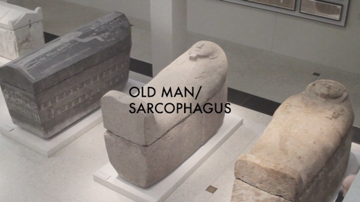 This is an artwork titled Old Man/Sarcophagus by artist Dave McKenzie made in 2013