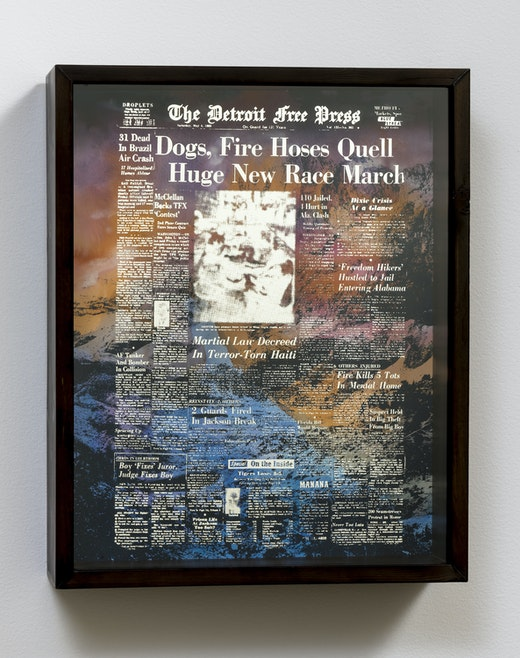 This is an artwork titled Blooms Above the Headlines, (Time of Tragedy) by artist Edgar Arceneaux made in 2017