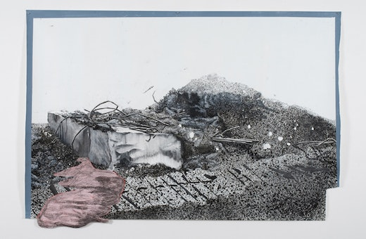 This is an artwork titled Dragged Mass as Allegory by artist Edgar Arceneaux made in 2009