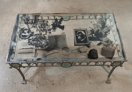 This is an artwork titled King Vanitas Second Stage: When Objects Become Things, Two Placemats by artist Edgar Arceneaux made in 2014