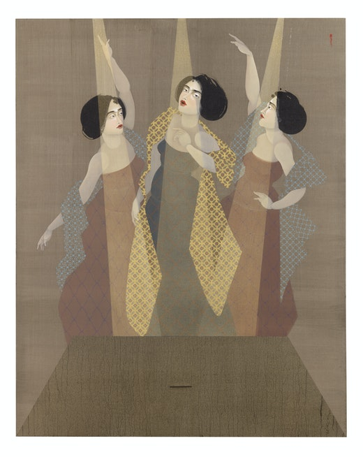This is an artwork titled The Celebrity by artist Hayv Kahraman made in 2018
