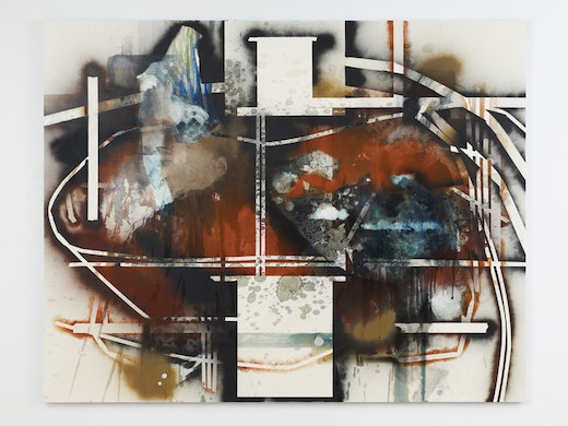 This is an artwork titled Routes and Pressures by artist Elizabeth Neel made in 2012