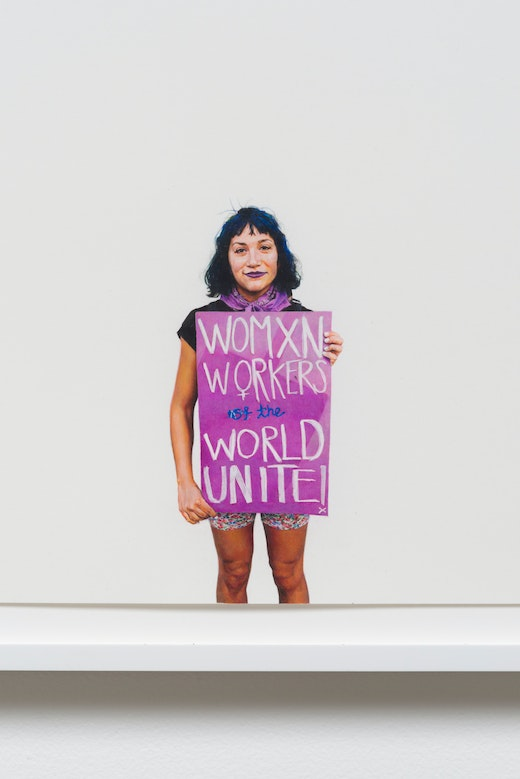 This is an artwork titled [detail] Womxn Workers of the World Unite! (May Day March 2015, Los Angeles, California) by artist Andrea Bowers made in 2016