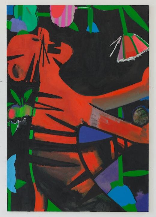 This is an artwork titled Ivy by artist Ellen Berkenblit made in 2015