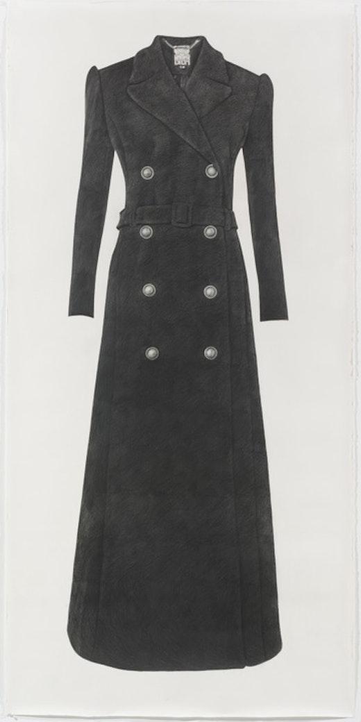 This is an artwork titled Long Black Coat by artist Karl Haendel made in 2012