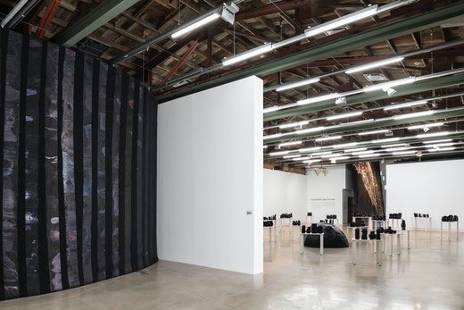 """This is an artwork titled """"Against a Civic Death,"""" Installation view by artist Rodney McMillian made in 2018"""