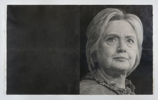 """This is an artwork titled """"Hillary Clinton,"""" detail by artist Karl Haendel made in 2016"""