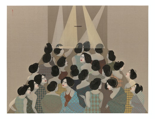 This is an artwork titled The Audience by artist Hayv Kahraman made in 2018