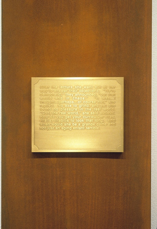 """This is an artwork titled """"Interim, Part IV: Potestas,"""" Detail by artist Mary Kelly made in 1989"""