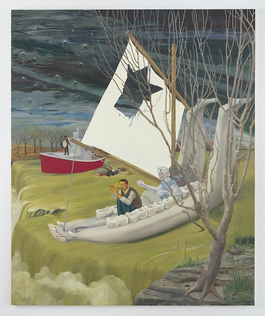 This is an artwork titled Heading Down River on the USS J-Bone of an Ass by artist Nicole Eisenman made in 2017