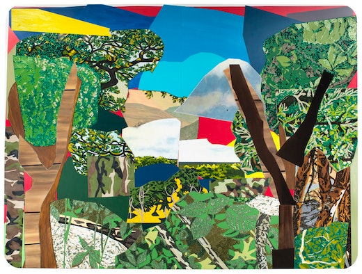 This is an artwork titled Landscape with Camouflage by artist Mickalene Thomas made in 2012