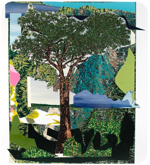 This is an artwork titled Landscape with Tree by artist Mickalene Thomas made in 2012