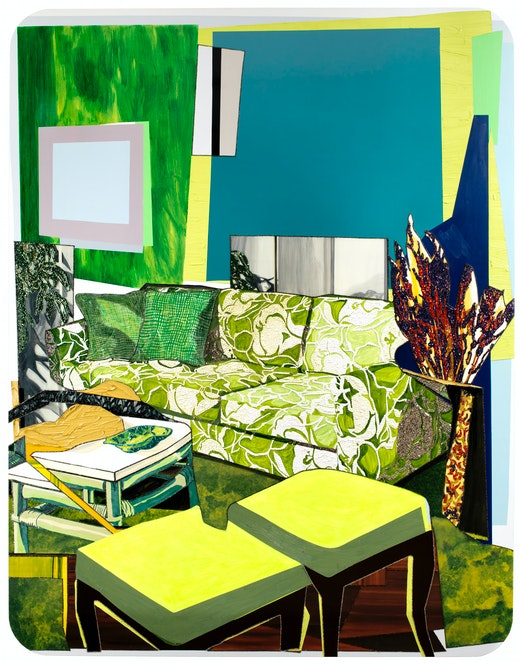 This is an artwork titled Interior: Green and White Couch by artist Mickalene Thomas made in 2012