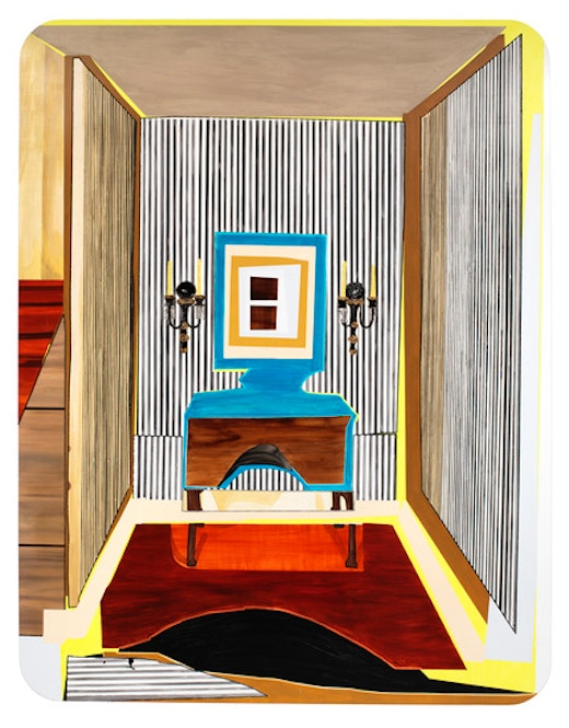 This is an artwork titled Interior: Striped Foyer by artist Mickalene Thomas made in 2012