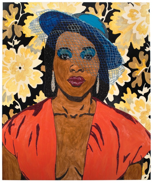 This is an artwork titled Qusuquzah, une tres belle negresse #3 by artist Mickalene Thomas made in 2012