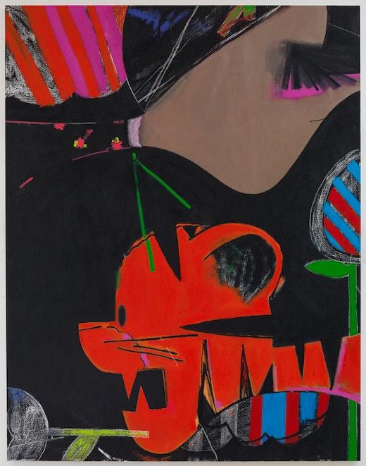This is an artwork titled Gaumauve by artist Ellen Berkenblit made in 2015