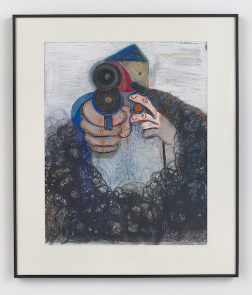 This is an artwork titled The Shooter by artist Nicole Eisenman made in 2018