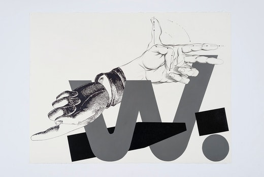 "This is an artwork titled ""Hands n' Things 6,"" detail by artist Karl Haendel made in 2016"