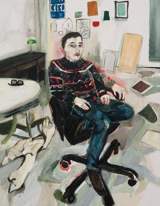 This is an artwork titled Shanti in the Studio (Seasonal Sweater) by artist Raffi Kalenderian made in 2011