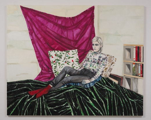 This is an artwork titled Alison Seated (After Sleigh) by artist Raffi Kalenderian made in 2014
