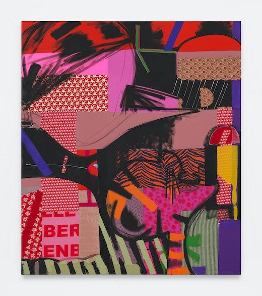 This is an artwork titled Green Taffeta by artist Ellen Berkenblit made in 2018
