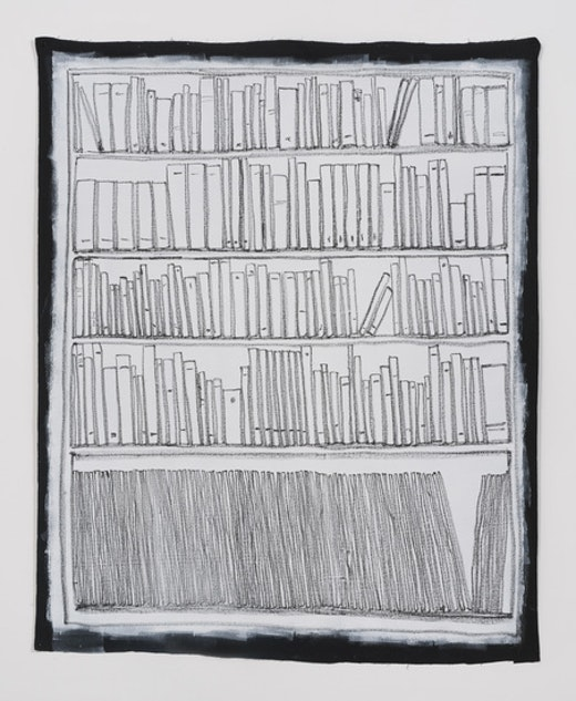 This is an artwork titled Bookshelf I by artist Stanya Kahn made in 2014