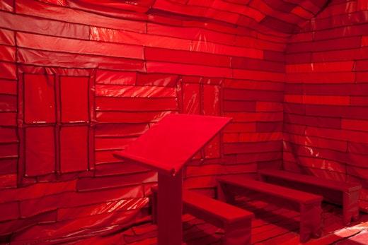 "Rodney McMillian, ""From Asterisks in Dockery,"" 2012 Vinyl, thread, wood, paint, and lightbulb"