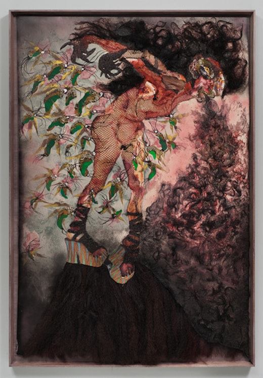 This is an artwork titled All the way up, all the way out by artist Wangechi Mutu made in 2012