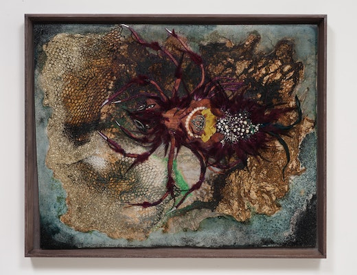 This is an artwork titled A woman's sting by artist Wangechi Mutu made in 2012