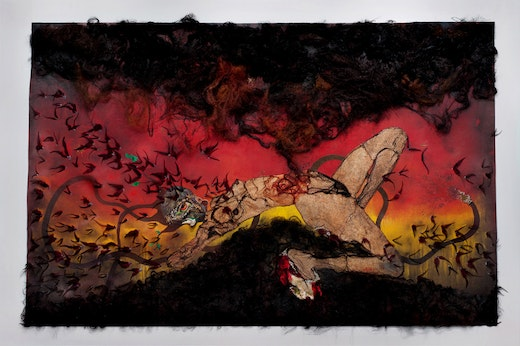 This is an artwork titled The Storm by artist Wangechi Mutu made in 2012