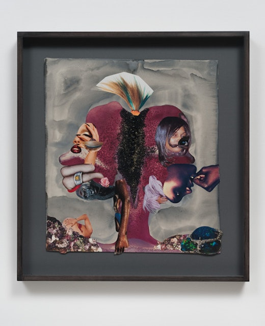 This is an artwork titled Double feather fist by artist Wangechi Mutu made in 2012