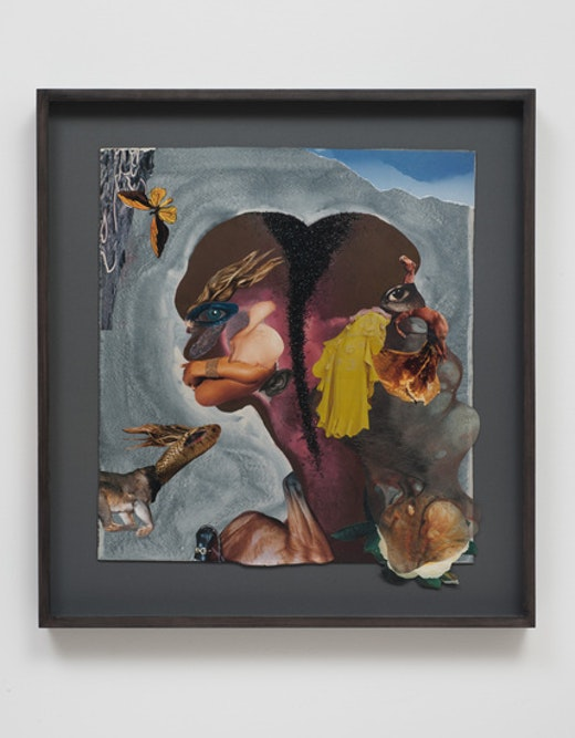 This is an artwork titled Lion chase duo by artist Wangechi Mutu made in 2012