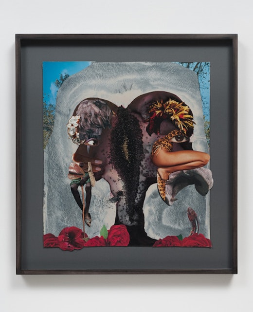 This is an artwork titled Sit squat siamese by artist Wangechi Mutu made in 2012