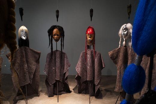 This is an artwork titled Nitarudi Ninarudi, I plan to return I am returning; Kibaba installation by artist Wangechi Mutu made in 2012