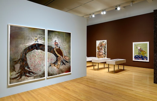 This is an artwork titled Installation shot of A Fantastic Journey by artist Wangechi Mutu made in 2013