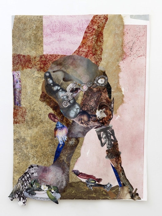 This is an artwork titled Chin rest with cut-eye by artist Wangechi Mutu made in 2012