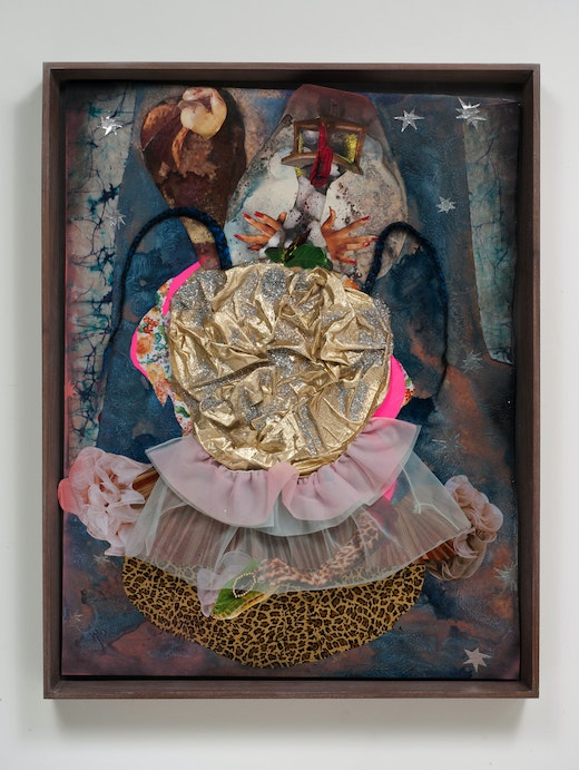 This is an artwork titled Queen of messes by artist Wangechi Mutu made in 2012